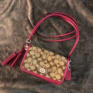 COACH Purple and Tan Rectangle Crossbody Bag